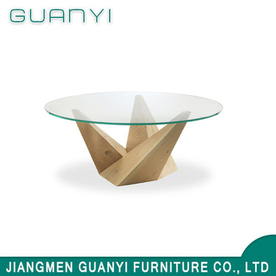 2019 Glass Round Wooden Dining Sets Restaurant Table