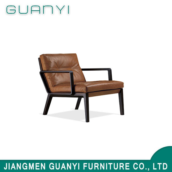 Modern Solid Ash Wood Frame PU Seat Leisure Chair for Home Hotel Use