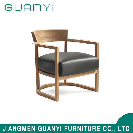 2018 Solid Ash Wood with PU Leather Foam Seat Armchair