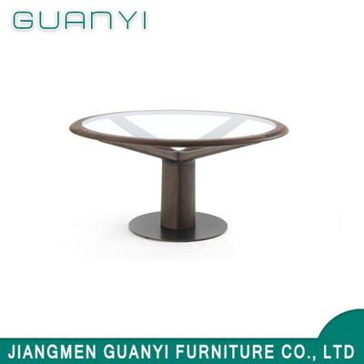 Modern Glass Top Wooden Leg Metal Restaurant Hotel Furniture Table